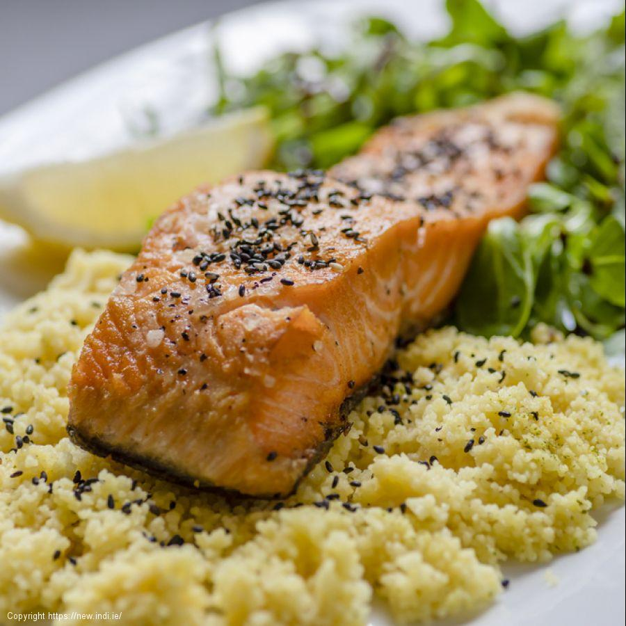 Salmon and roasted vegetable couscous