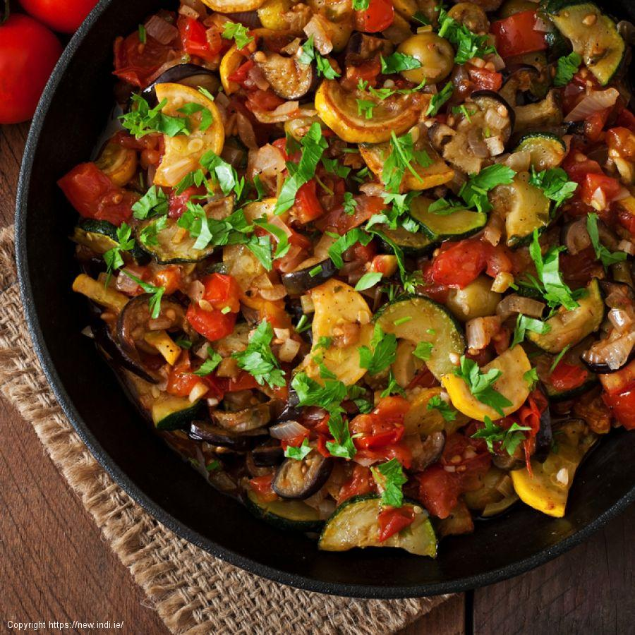 Vegetarian Ratatouille with Sunken Eggs